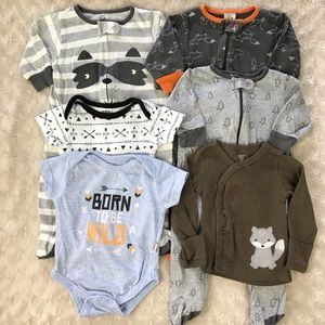 Baby Boy Woodland Animals Sleeper Bundle Bodysuit